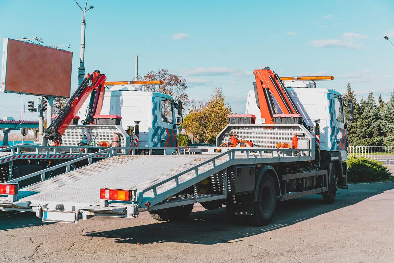 Securing A Car On A Flatbed Tow Truck